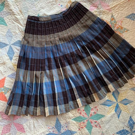 Vintage 50's/60s' Reversible Plaid Wool Skirt Blue