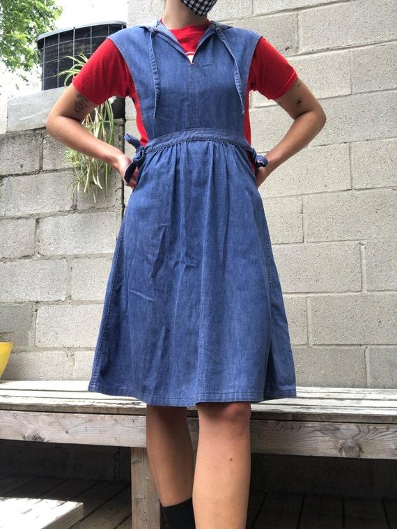 Vintage 1960's Sears Denim Apron Dress - image 1