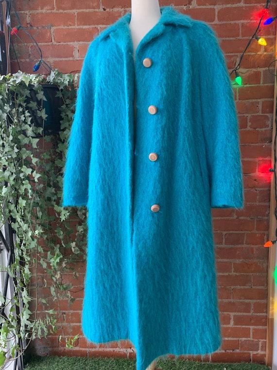 Vintage Turquoise MOHAIR Long Coat
