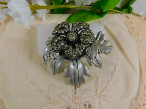 Joan Rivers Pewter & Crystal Brooch, Joan Rivers M