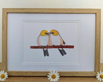 Silvereyes Bird Art A5 Print