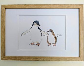 Little Penguins Bird Nursery Art A5 Print