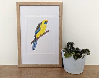 Green Rosella Bird Art A5 Print