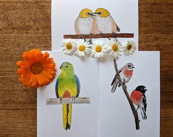 Set of 3 Bird Greeting Cards - Silvereyes, Orange-bellied Parrot, Scarlet Robins