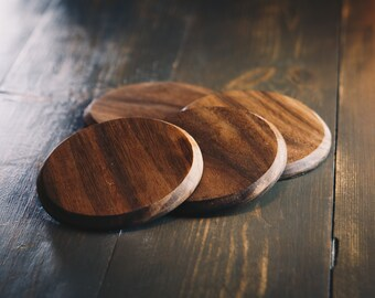 Wooden Geometric Coasters with Holder Cherry Wood or walnut wood Coasters Set with Holder Coasters Set of 4,6 or 8