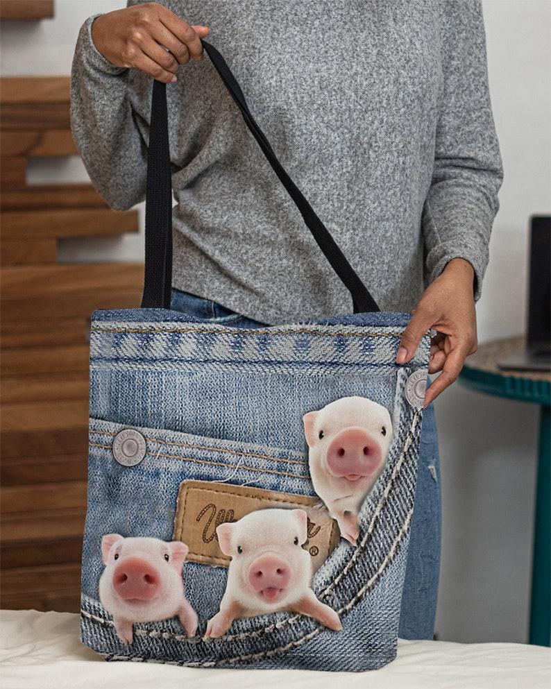 Three Cute Pigs In Jean Pocket Canvas Tote Bag Pigs Shoulder