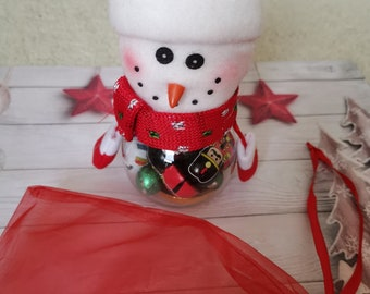 Snowman filled with Christmas chocolate
