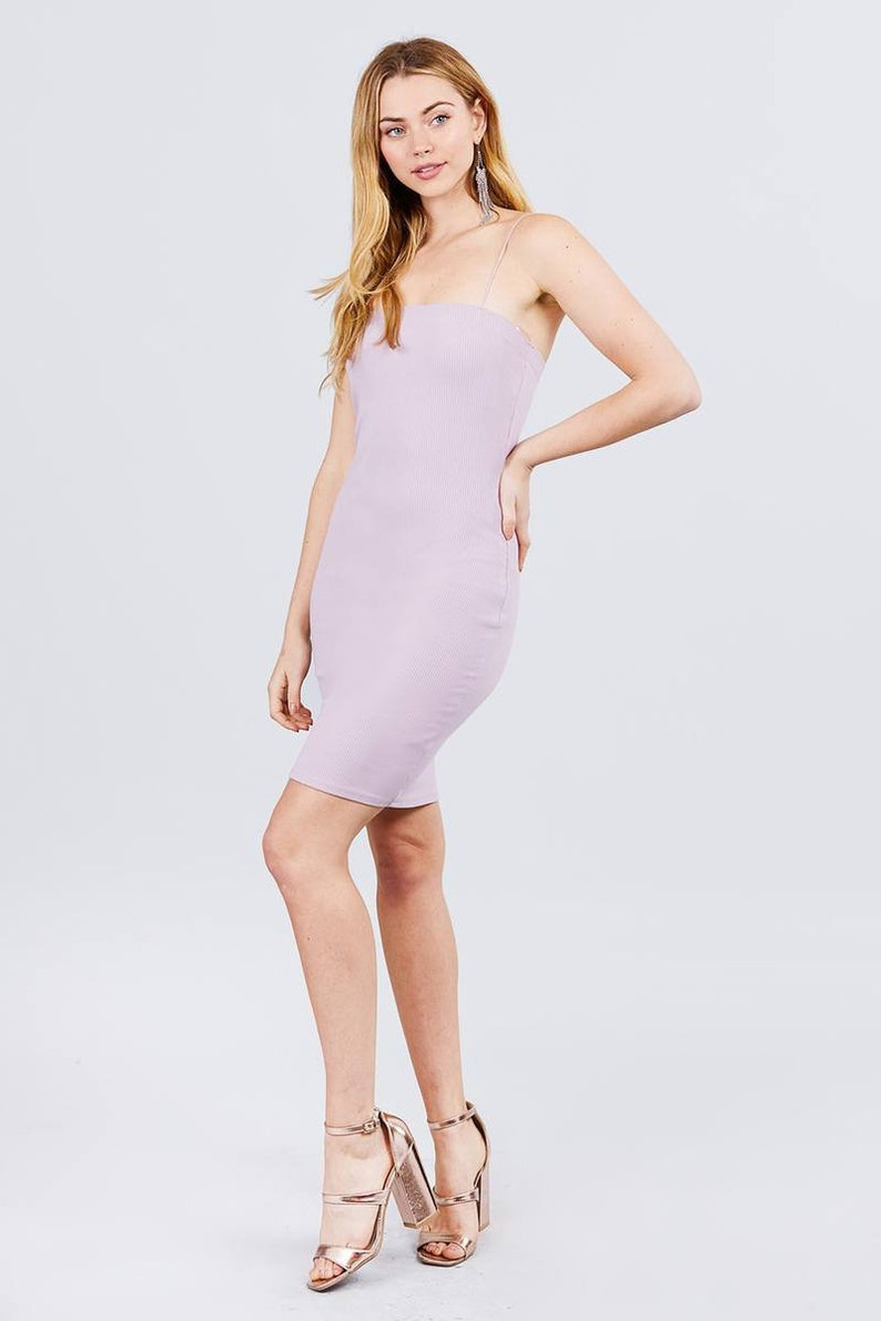 Straight Neck Cami Elastic String Heavy Rib Mini Dress