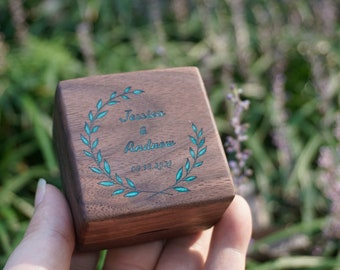 Personalized Wood Square Double Ring Box with Engraved and inlay, Ring Bearer Box for Wedding Ceremony, Rustic Proposal Engagement Ring Box