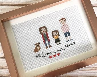 Personalised, custom family, pet portrait, cross stitch portrait