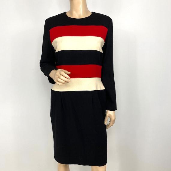 Vintage Scaasi Colorblock Wool Sheath Dress 12 pe… - image 6