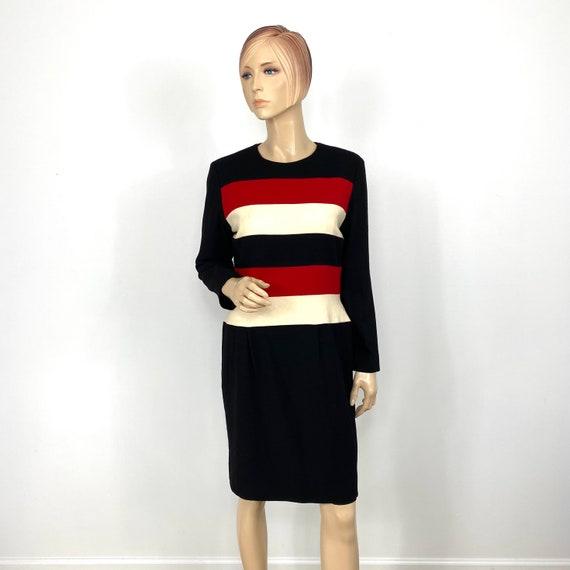 Vintage Scaasi Colorblock Wool Sheath Dress 12 pe… - image 1