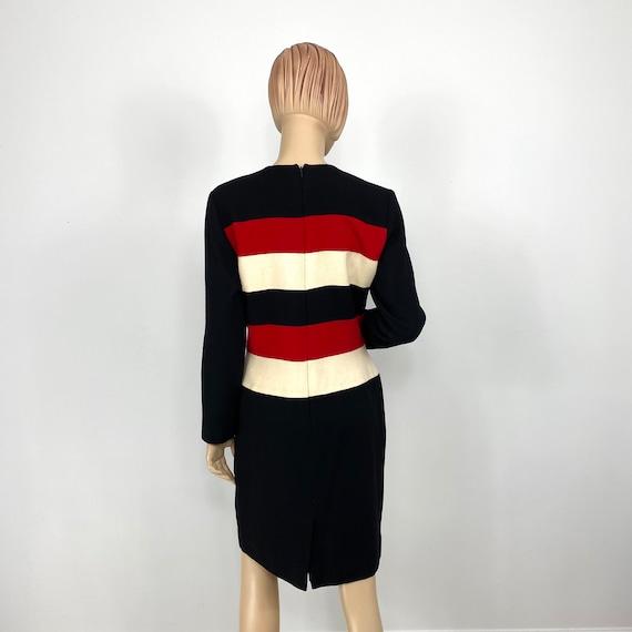 Vintage Scaasi Colorblock Wool Sheath Dress 12 pe… - image 4