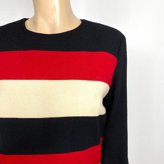 Vintage Scaasi Colorblock Wool Sheath Dress 12 pe… - image 10