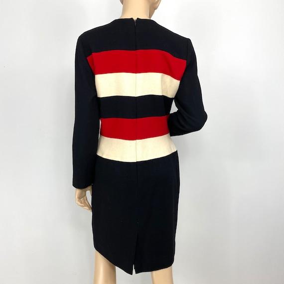 Vintage Scaasi Colorblock Wool Sheath Dress 12 pe… - image 7