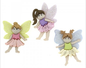 Flutter Bugs ~ Fantasy  Fairytale ~ Dress It Up Embellishment Buttons ~ Jesse James Novelty Buttons Theme Pack