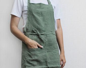 Cooking Apron Unisex Washed Linen Apron Pinafore Linen Apron Full Apron with Pocket Kids Linen Apron Linen Cross Back Apron