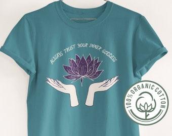 Lotus Flower Empowerment Organic Cotton Tee • Goddess Energy Inner Peace Tee • Relaxing Zen Meditation Top • Eco Yoga Mindfulness Clothes