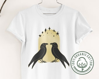 Crow Raven Black Birds Organic Graphic Tee • Witchy Halloween Lover Tee • Eco Occult Wicca Pagan Top • Dark Gothic Celtic Mythology Clothes