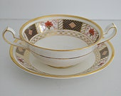 Derby Border Cream Soup Bowls and Saucers