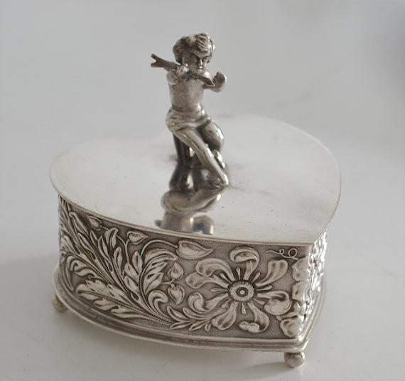 Antique Silver Heart Cupid Trinket Box
