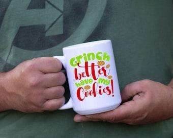 Grinch Cookies White Coffee Mug, Premium Quality Christmas Mug,  Funny Mug