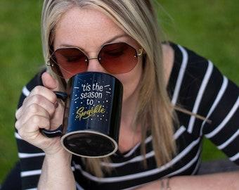 Tis The Season Black Coffee Mug 11oz Premium Quality Mug, Holiday Gift, Christmas Gift