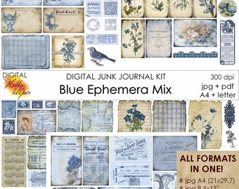 Blue junk journal ephemera pack Vintage junk journal kit printable 5 pages