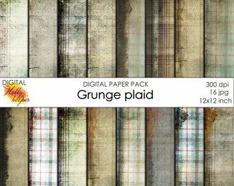 Grunge plaid digital paper pack 16 printable scrapbooking papers Instant download Digital Scrapbooking