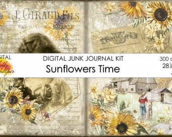 Sunflowers junk journal kit printable 28 vintage journal pages and ephemera