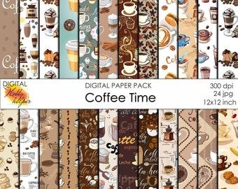 Coffee digital paper pack 24 printable scrapbooking papers Instant download Digital Scrapbooking