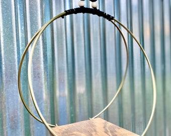 10 in. Gold Hoop Hanging Planter