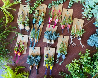 Macrame Hanging Plant Earrings