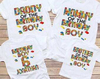 Custom Building Block Birthday Boy Shirt,Family Matching Shirt,Personalized Building Block Themed,Brick Birthday,Little Builder Kid Gift