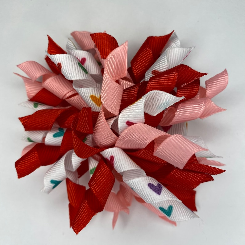 Pink Bow Curly Bow Toddler Hair Bow Handmade Bow Girl Hair Bow Baby Hair Bow Heart Bow Boutique Bow Korker Bow Red Bow