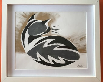 Feather the cat - stencil print