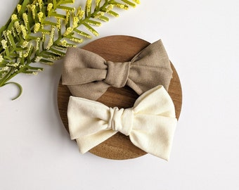 bar clip or elastic Hair bow on headband baby Pinwheel arcs made of linen Accessory for baby to adult