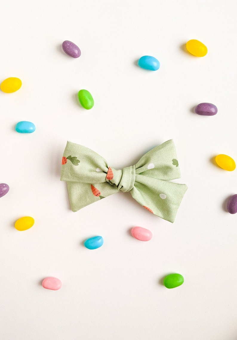 Green Easter Fabric Hairbow  Spring baby headband little image 0
