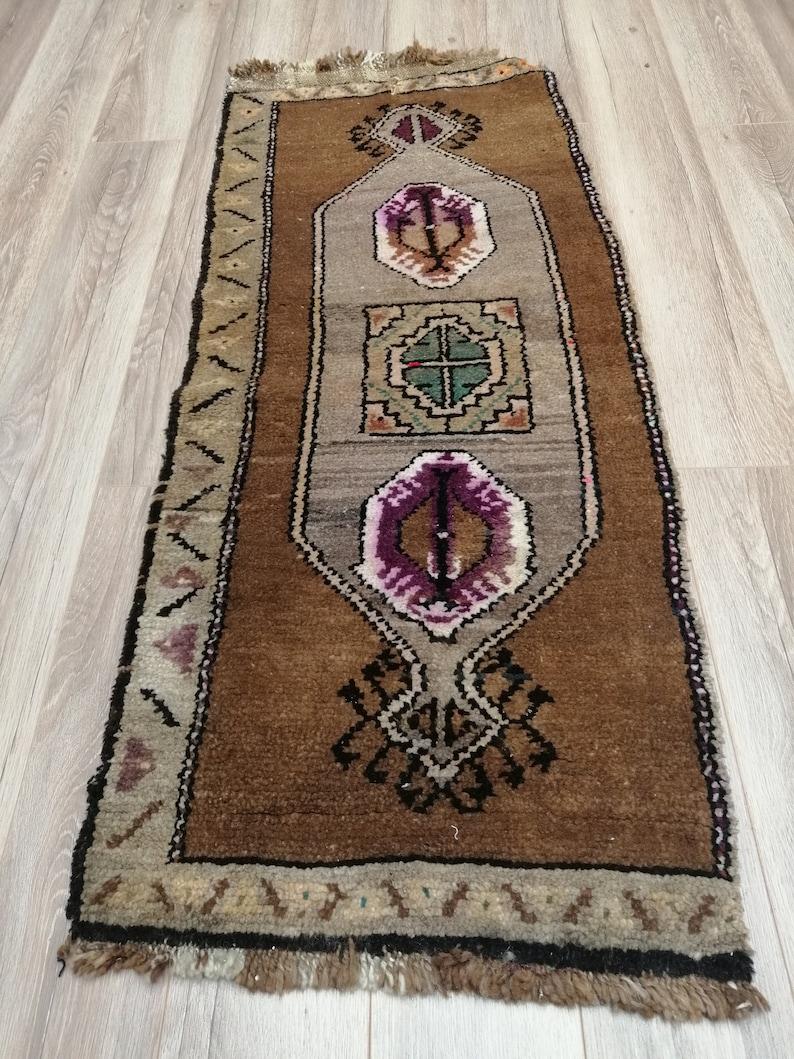 Small Turkish Rug| Small Oushak Rug| Small Vintage Rug| Entry Rug| Small Rug| 1.6x3.9 ft Small Entry Rug Southwestern Rug Doormat Rug|