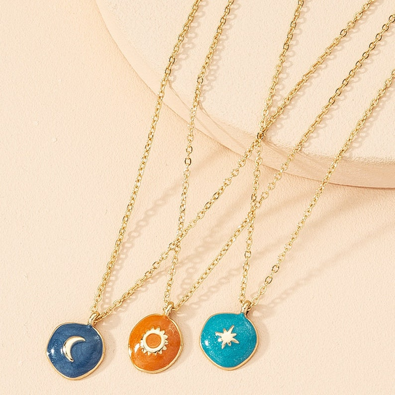 Celestial Necklace Sun Moon and Stars Necklace Astrology image 0