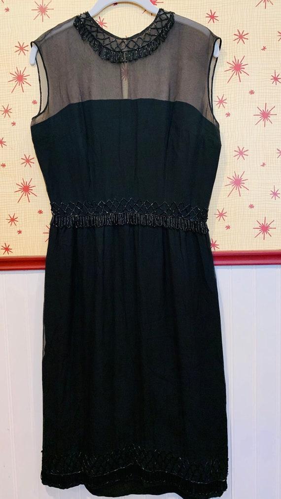 1960s Beaded Chiffon Dress/1950s Glamour/Black Chi