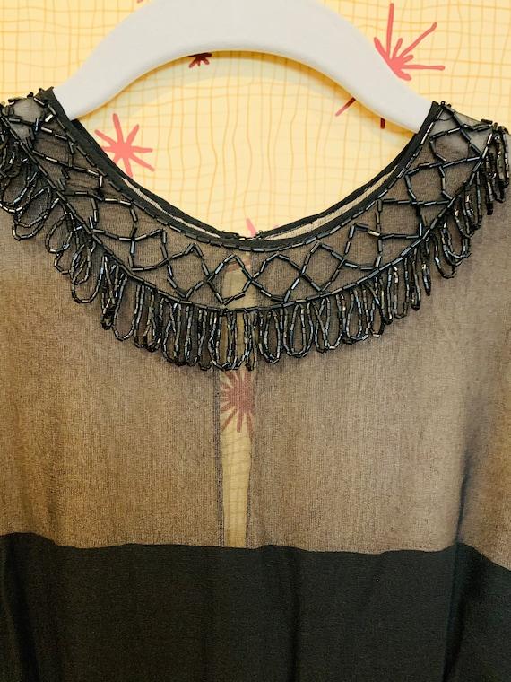 1960s Beaded Chiffon Dress/1950s Glamour/Black Ch… - image 4