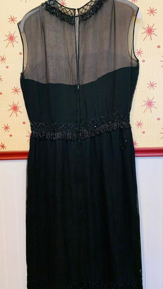 1960s Beaded Chiffon Dress/1950s Glamour/Black Ch… - image 3