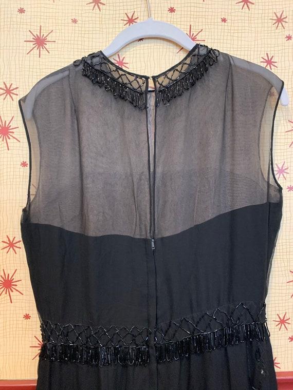 1960s Beaded Chiffon Dress/1950s Glamour/Black Ch… - image 2