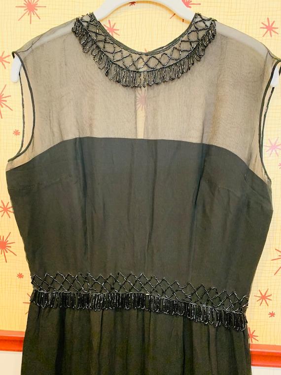 1960s Beaded Chiffon Dress/1950s Glamour/Black Ch… - image 6