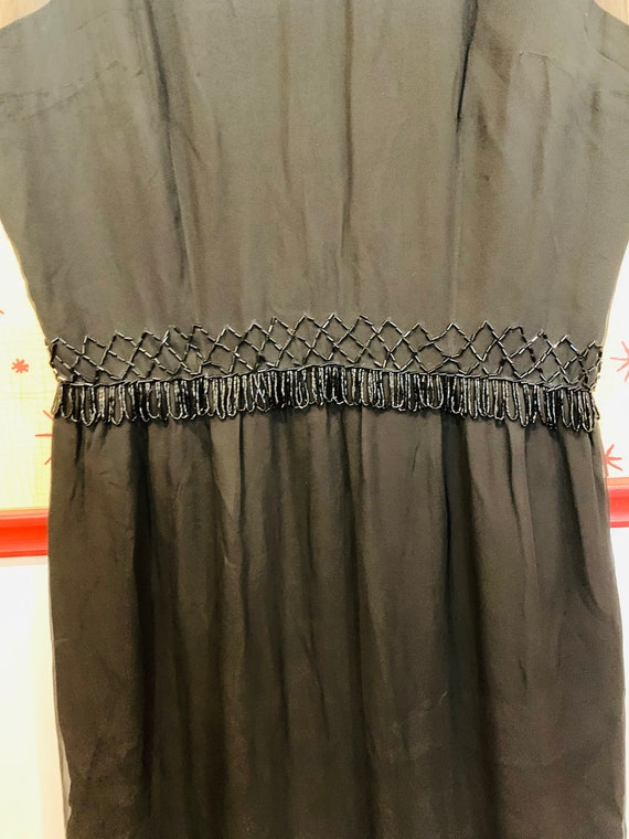 1960s Beaded Chiffon Dress/1950s Glamour/Black Ch… - image 5
