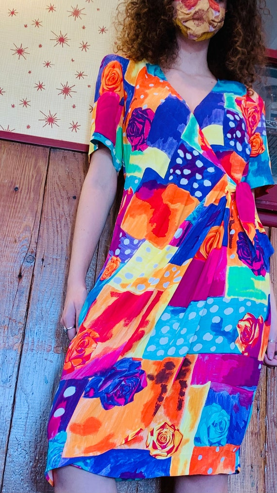 80s Vintage Fit and Flare Maxi Skirt; Bright Pink with Big Bold Buttons and Elastic Waistband
