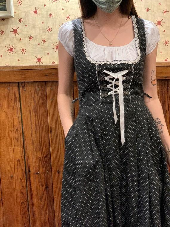 Dirndl Style Black dress/1980s dress/Lace up front
