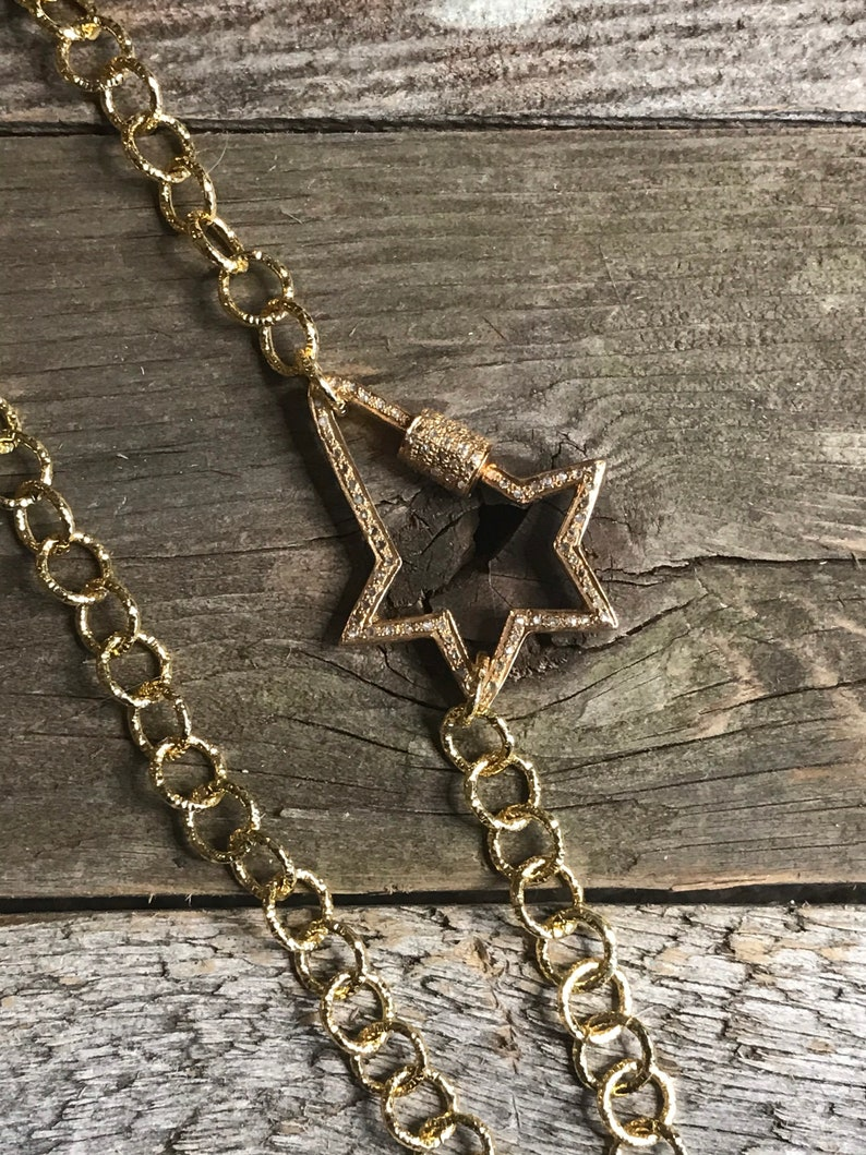 Gold copper chain with SS and genuine pave diamond star carabiner twist clasp.