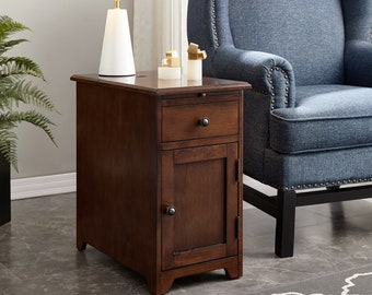Sutton Side Table with Door and Drawer with USB Charging Station in Espresso